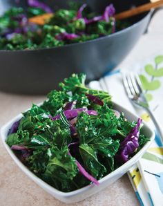Stir-Fried Sesame Kale & Red Cabbage Recipe...made a version of  this tonight with sauteed garlic and onion. delicious, healthy, and so easy.