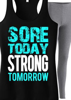 Cool #Workout Tank Top! Look great and motivate. Sore Today STRONG Tomorrow #Fitness Tank only $24.99. Click here to buy http://nobullwoman-apparel.com/collections/fitness-tanks-workout-shirts/products/sore-today-strong-tomorrow