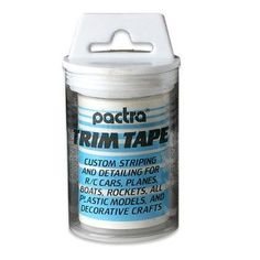 Trim Tapes,Sky Blue by Pactra, Inc.. $8.10. This is One Master Roll of Trim Tape (Sky Blue) from Pactra. /  / FEATURES: Custom striping and detailing for R/C cars, planes, boats, rockets, / all plastic models, and decorative crafts. / Made from an ultra thin, colored, high tech film with a fuel / resistant clear permanent self-adhesive. / When rubbed down on a clean surface, it's highly resistant to peeling / and creeping. / Can be used around complex or tight...