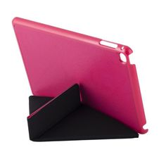 For+iPad+mini+4+Transformers+Style+Magenta+Crazy+Horse+Smart+Cover+Leather+Case+with+Holder