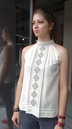 #Cotton #top with #embroidery. #GN-Atelier https://www.facebook.com/GN_design-1617224841891321
