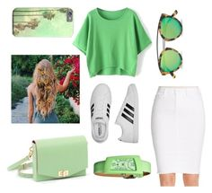 """""""Green and white"""" by ameliawagnon ❤ liked on Polyvore featuring Jessica Simpson, adidas, BET Barcelona, Westward Leaning and Crayo"""