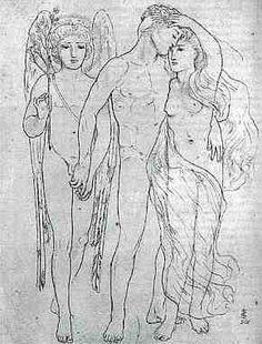 The Bride, the Bridegroom and Sad Love, Simeon Solomon. The groom is embracing the love of this young boy behind the back of his bride. Solomon suggests that the heterosexual union of matrimony is not completely sexually fulfilling for the man. The piece seems to questions the divine happiness supposedly to be found in marriage of man and woman, and indicates the presence of male-male desire beyond the bounds set my matrimony.
