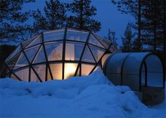 Glass Igloo under the starry sky and northern lights display