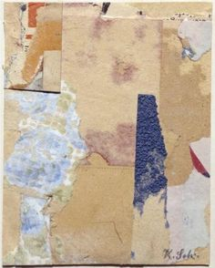 Aphorism - Kurt Schwitters, 1923 - Tate Gallery > The apparently random collection of papers in Aphorism come together to create a tiny but carefully balanced composition. The subtle tones of the pieces of buff paper are accented by insertions of strong colour.