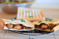 Soya chunks Manchurian sandwich - Kids healthy food recipes