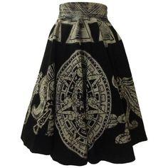 Preowned Vintage 1950s Aztec Calendar Warrior Black & White Circle... ($245) ❤ liked on Polyvore featuring skirts, white, white knee length skirt, full skirt, sequin skirts, black and white skirts and vintage circle skirt
