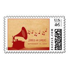 Red Vintage Gramophone Wedding Postage #vintage #wedding #stamps #music