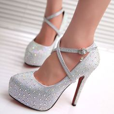 Sparkly Women's High Heeled Platform Pumps with removable Ankle Strap 2 Colors