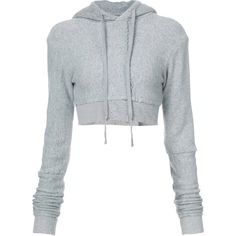 Greg Lauren cropped cashmere hoodie ($985) ❤ liked on Polyvore featuring tops, hoodies, grey, gray crop top, gray hoodie, sweatshirt hoodies, cashmere hoodie and crop top