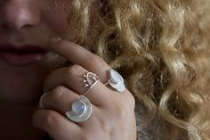 Teardrop moonstone and sterling silver custom door FleurCaroline