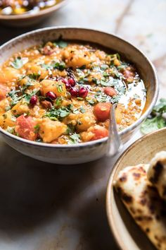 Harvest Tomato and Butternut Squash Dal: This dal is quick and easy to make...everything is mixed in one pot and simmered for 30 mins. @halfbakedharvest.com