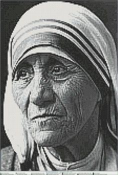 madre teresa de calcuta EN PUNTO DE CRUZ, Cross stitch patterns