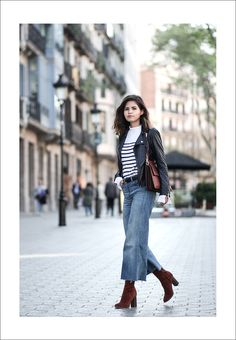 cute date outfits Denim Culottes Outfits, Cropped Jeans Outfit, Leather Culottes, Leather Jacket, Fall Winter Outfits, Autumn Winter Fashion, Fashion Mode, Fashion Outfits, Marine Look