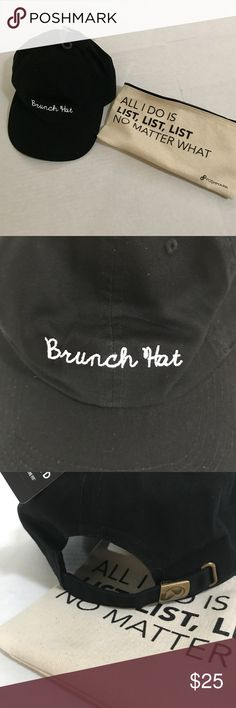 "Brunch hat!! Everyone needs a ""brunch hat"" for obvious reasons; to hide dark circles, makeup from the night before, or to conceal sweaty gym hair. This black baseball cap is just the cutest!  Embroidered in the USA.  0811111117 Accessories Hats"