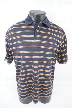 f0e3773d2 Vans Skateboarding Striped Blue SS Polo Style Shirt Men's Adult Large (L)  #VANS