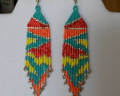 Native American Style Cotton Candy Beaded Earrings