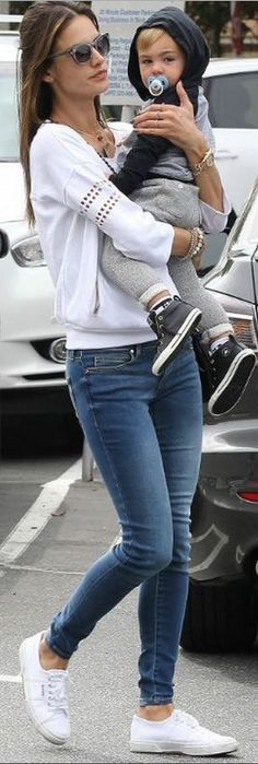 2c36147d920 Alessandra Ambrosio  Shoes – Superga Watch – Rolex Bracelet – MaLi Beads  Sweatshirt – Stray