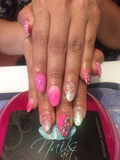 Nails, pink nails , acrylic nails, nails art