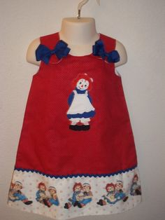 Raggedy Ann Boutique Jumper Dress by kwatson2010 on Etsy, $28.00