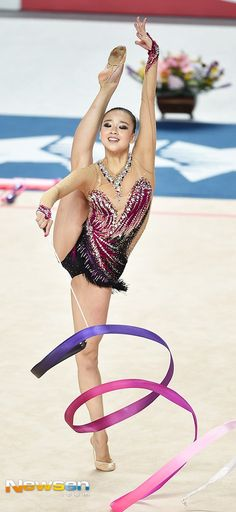 Son Yeon Jae (Korea) won silver in ribbon finals at Universiade in Gwangju (South Korea) 2015