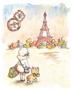 little girl in Paris by LoxlyHollow (for daughter's nursery)