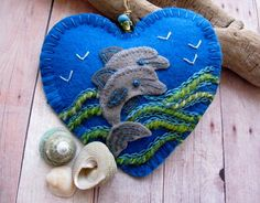 Leaping Dolphins Embroidered Felt Ornament  New door SandhraLee, $18,00