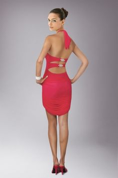 Red Short Petite Cocktail Dress with Halter Neckline and Cut-out