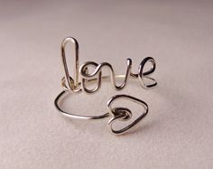 LOVE RING or name ring in sterling silver by GLITTERBOXJEWELRY, $15.00