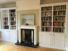 Built in cupboards Victorian Living Room, Built In Cupboards, Bookshelves, Alcove Ideas, Alcoves, New Homes, Lounge, Cottage, Fireplaces