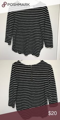 Black shirt with white stripes. Black shirt with white stripes. Three Quarter length sleeves, zipper in back. 97% cotton, 3% spandex Merona Tops Tees - Long Sleeve
