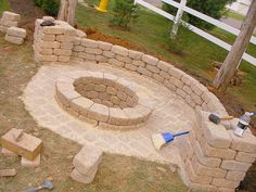 DIY Fire Pit...For the corner of the yard with built-in seating.