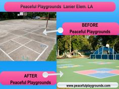 Lanier School #peacefulplaygrounds before and after pictures. #playground #educhat #edu #recess. http://www.peacefulplaygrounds.com