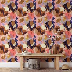 Floral Pattern Removable Wallpaper, Flower Silhouette Wall Cling, Abstract Peel and Stick, Modern Home Decor, Decorative Wall Mural Decal - Canvas Wall Decal / 1 roll: 24W x 120H