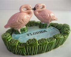 Vintage 1950s Florida souvenir double flamingo ashtray - pink green blue - Made in Japan. $30.00, via Etsy.