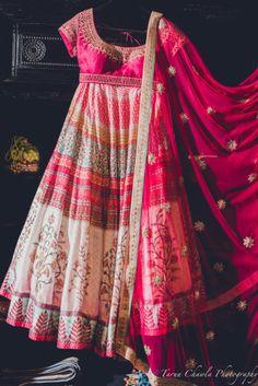 Sangeet Lehengas - Hot Pink Printed Lehenga | WedMeGood | Hot Pink and Gold Blouse with White and Pink Printed Flared Lehenga and Pink Dupatta | #wedmegood #sangeet #lehengas #fuchsia