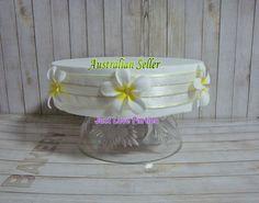 Wedding Party Birthday Cake Wrap Band - Frangipani - White