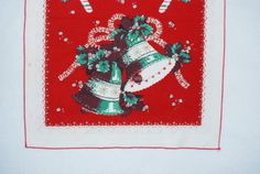 Christmas bell and candy cane table runner by HappyCloudImports, $7.00