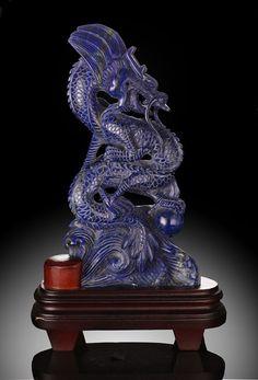 Lapis Lazuli Chinese Dragon Carving