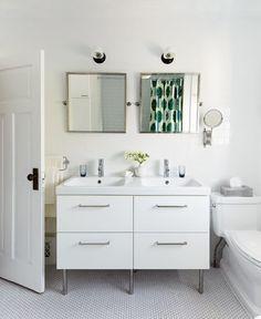 Ikea double vanity in bathroom reno Bathroom Mirror Cabinet, Laundry Room Bathroom, Mirror Cabinets, Budget Bathroom, Bathroom Renovations, Bathroom Interior, Ikea Bathroom, Bathroom Makeovers, Family Bathroom