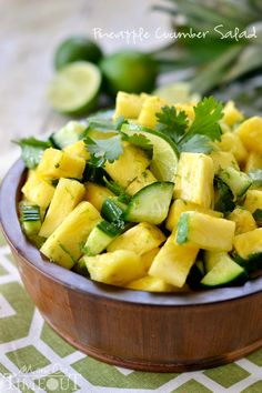 This perfectly refreshing Pineapple Cucumber Salad is wonderfully easy to make and simply delicious! ::Ingredients:: 1 pineapple, chopped 1 English cucumber, chopped 2 limes, zested and juiced ⅓ cup cilantro, roughly chopped salt and pepper (optional) Raw Food Recipes, Vegetarian Recipes, Cooking Recipes, Healthy Recipes, Juicer Recipes, Top Recipes, Easy Recipes, Healthy Salads, Healthy Eating