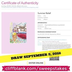 Enter online http://ift.tt/28M8m1G - Win a limited (1/12) digital edition of Summer Relief. 12 lucky winners will be drawn! Refer a friend for an extra chance to win. Sweepstakes closes September 2 2016.  This oil pastel was part of the Opus Outdoor Painting Challenge 2016. The subject is of the boat named Relief under the Granville Street Bridge on Granville Island in Vancouver BC. In front is the famous statue of the GI Gelato & Coffee House mascot boy eating ice cream. #opc2016…