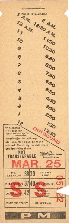 Streetcar transfer from Pittsburgh (Pennsylvania) Rwys. Co.(1956)