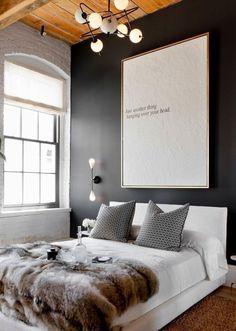 Bed Decor, Above Bed Decor, Accent Wall Bedroom, Spare Bedroom, Home Decor, Black Walls Bedroom, Black Walls, Scandinavian Design Bedroom, Bedroom Wall