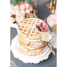 "Kerri Cupcake on Instagram: ""Waffle cake for breakfast?!! Yes please!  @carlymphotography #waffle #waffles #wafflecake #breakfast #dessert #wedding #weddingcake #designer #edibleart #cakedesign #sweet #sweetindulgence #villageindulgence"""