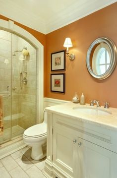 Ooh, orange bathroom!