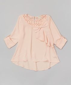 Look what I found on #zulily! Blush Chiffon Bow Top by Monteau Girl #zulilyfinds
