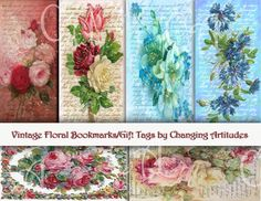 VINTAGE FLORAL BOOKMARKS or Gift Tags. by ChangingArtitudes