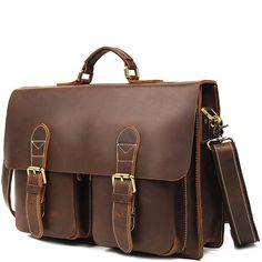 A classic double pocket leather briefcase that makes for a terrific business companion. Briefcases, Types Of Bag, Leather Briefcase, Classic Leather, Messenger Bag, Satchel, Pocket, Bags, Men