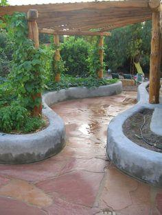 """Photo of Revive Holistic Design - """"Earthbag beds, Grape Vine Trellising. Dream Garden, Home And Garden, Earth Bag Homes, Earthship Home, Adobe House, Natural Building, Outdoor Living, Outdoor Decor, Garden Beds"""